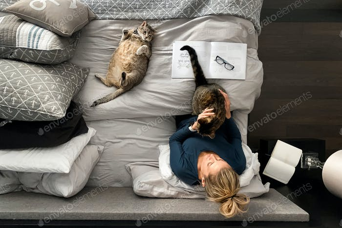 Woman working in bed with her kitties.