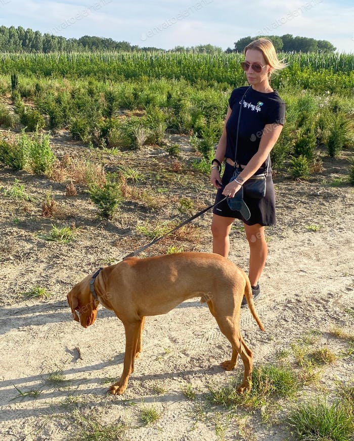 Young blonde woman walking the dog on a summer day