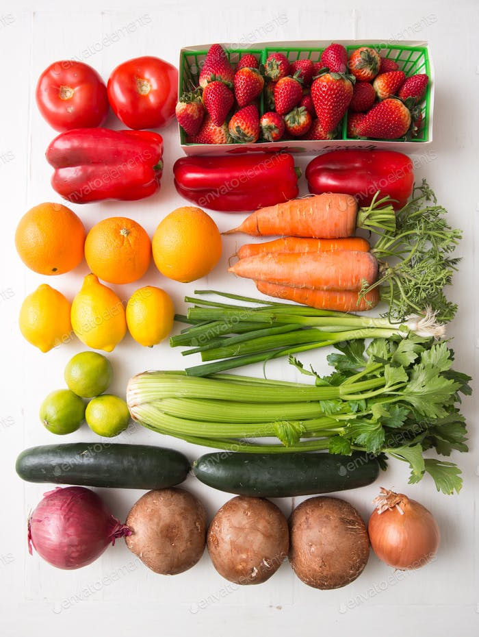 A rainbow of fruits and veggies