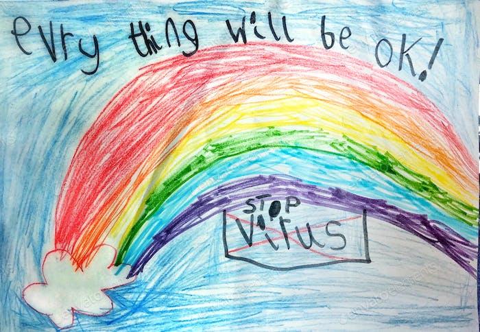 COVID19 Seis años de edad predicción del niño italiano Inspiración Niño Arte Arco iris Palabras Escritura