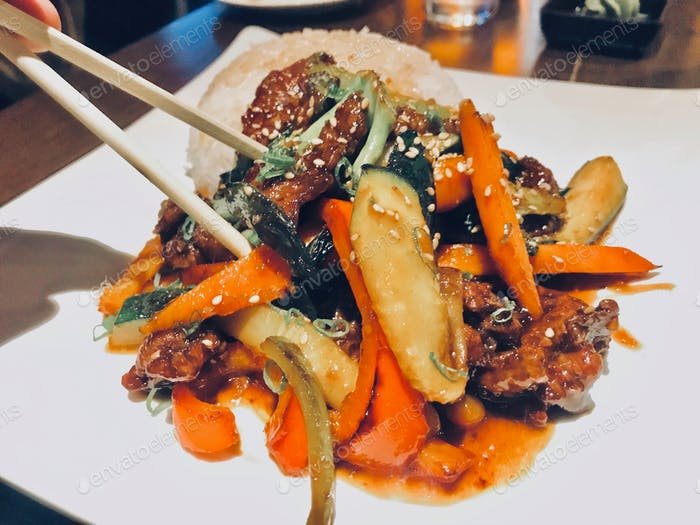 Mongolian Beef stir fry with prime sirloin