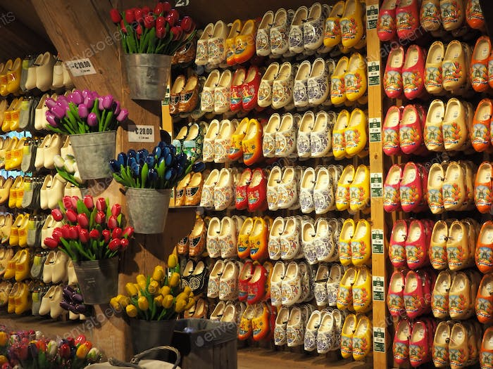 Souvenir shop in Holland - tulips and wooden national shoes Klomp