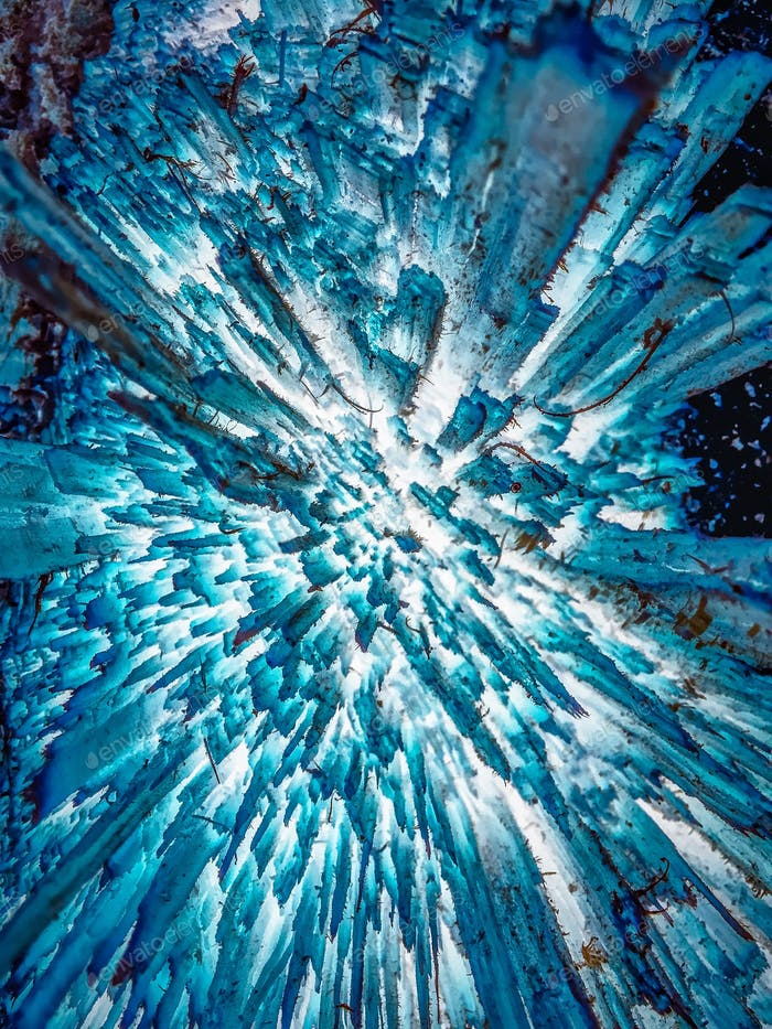 Abstract sharp vortex like glacier or cave blue and white art concept drawing painting background