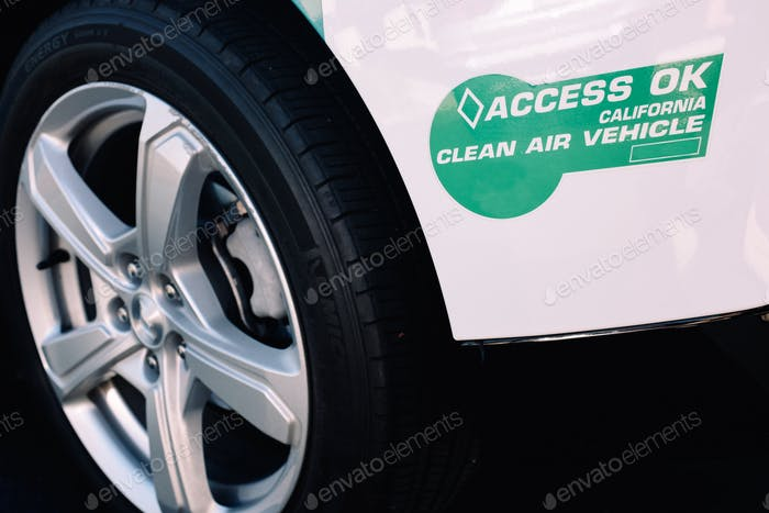 California clean air Electric vehicle and clean energy sticker issued by the government