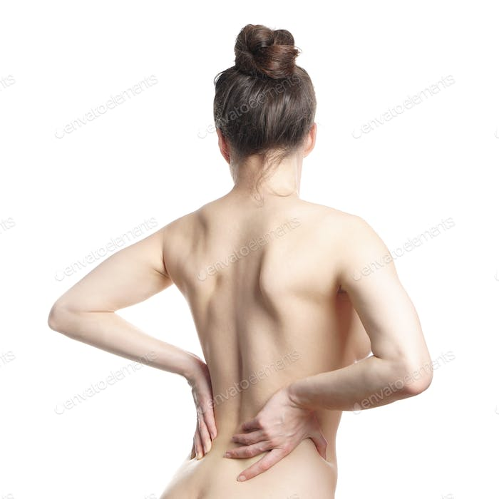 naked woman with lower back pain