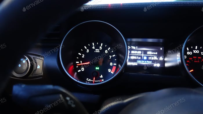Shelby Dashboard Lighted Up