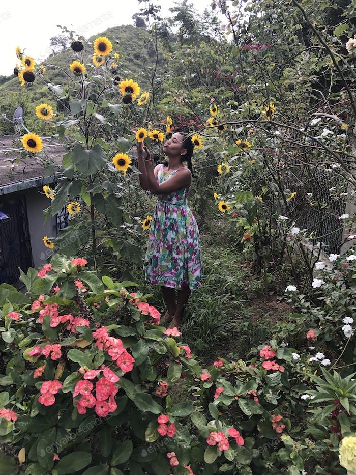 Meine Frau liebt Blumen.