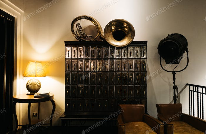 Vintage cabinets and brass