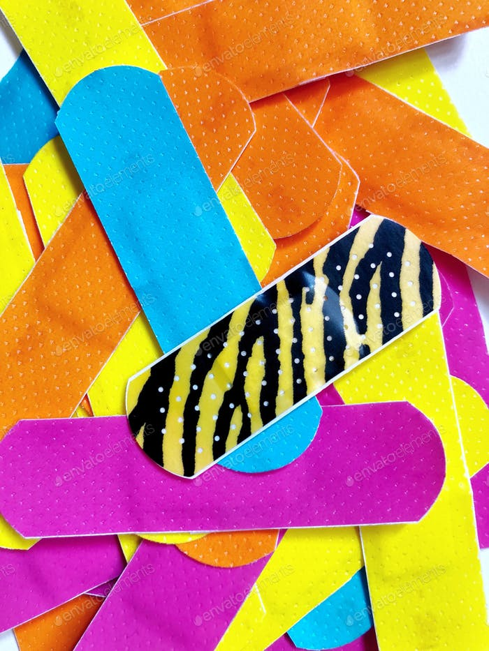 Bright and bold colors. Vibrant and colorful bandages (sticking plasters).