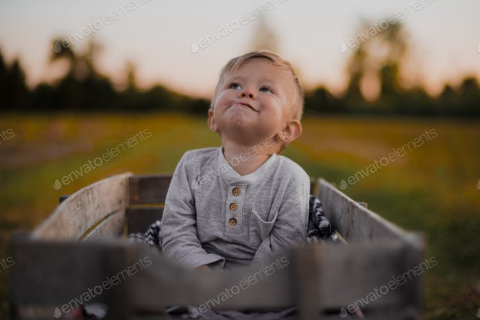 Little boy in a wagon making a silly face