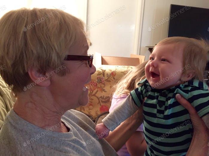 Smiling with grandma