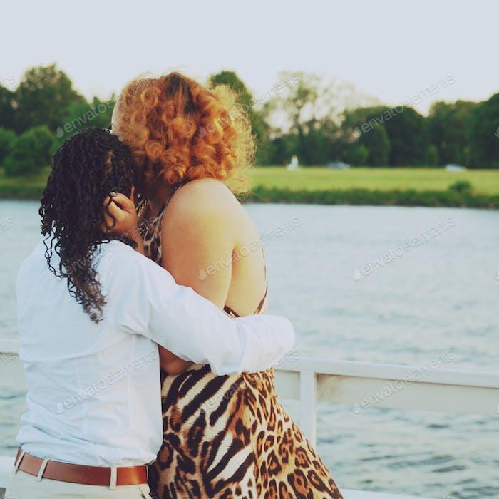 Lesbisches Paar auf einem Date