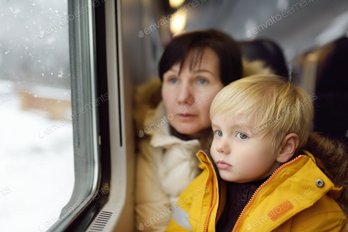 boy, grandmother, alps, train, child, granny, travel, window, railway, europe, winter, trip, looking