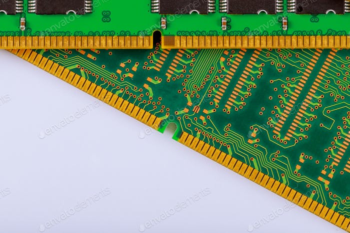Electronic computer memory modules of RAM on computer.