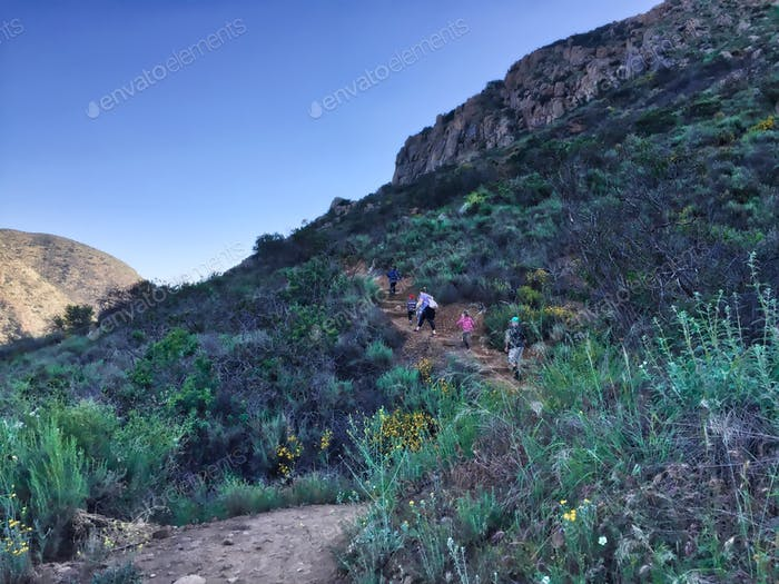 Family taking a morning hike in Mission Trails