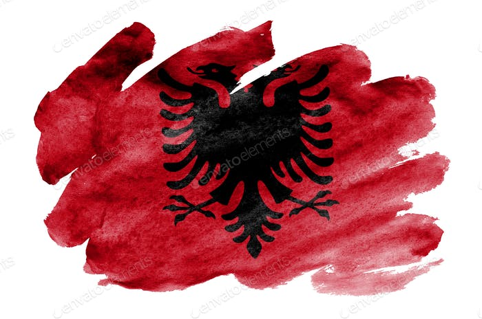 Albania flag  is depicted in liquid watercolor style isolated on white background