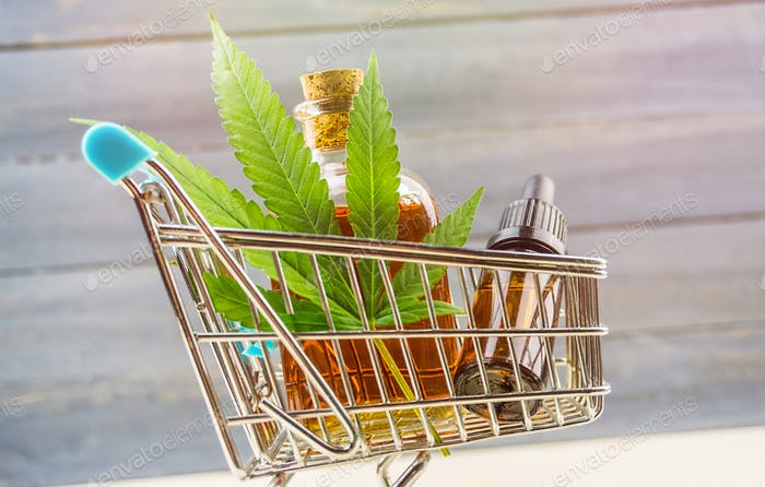 Buying cbd oil concept