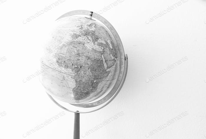 World globe in black and white.