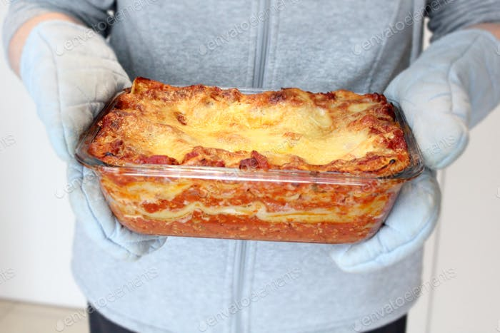 Homemade lasagne straight out of the oven!