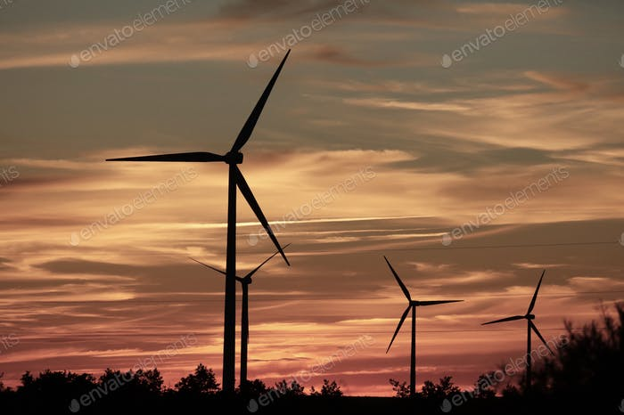 Solar sunset background, solar power, solar energy, wind, windmills