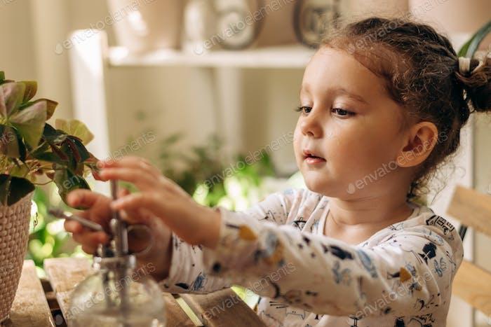 A little girl sprays indoor plants from a spray gun.Home gardening.