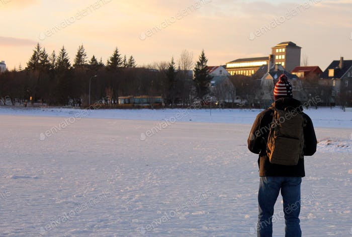 Man on a wintry walk
