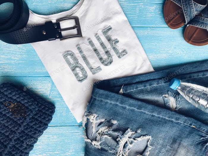 Blue flatlay items