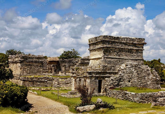 The ancient pre-Columbian ruins of a Mayan temple at Tulum near Cancun on the Yucatan Peninsula in