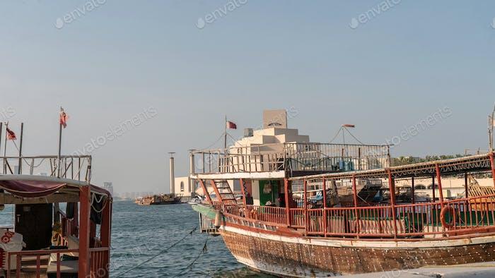 Traditional dhow. Wooden dhow. Corniche Doha. Doha. Sea. Ocean. Picnic. Travel. Qatar. Explore Qatar
