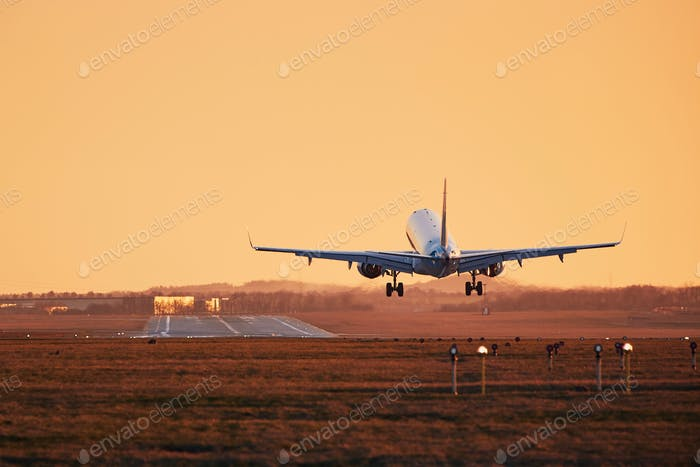 Traffic at airport. Airplane landing on runway at sunset.