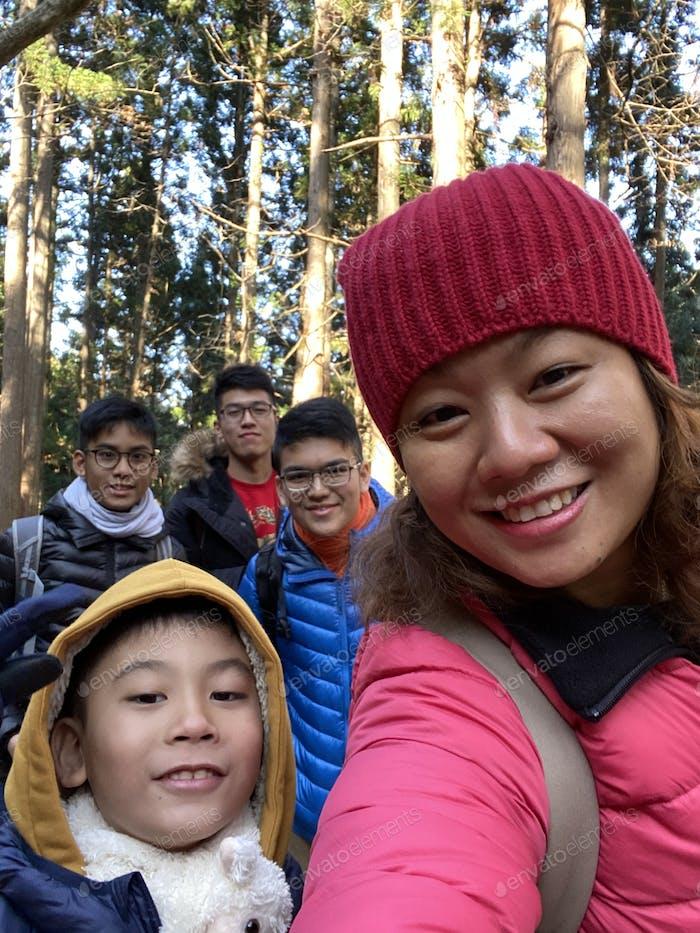Asian family happy selfie