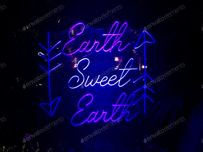 "Neon lighting with the sentence ""earth sweet earth""."