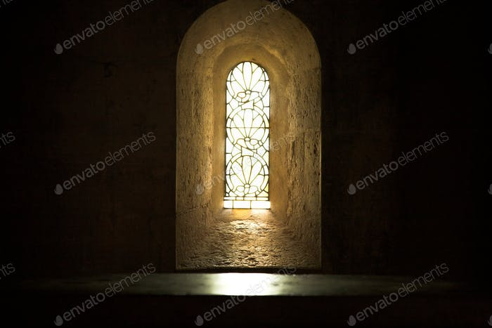 Meditation. Spirituality, stained glass window, light and shadows, hope, inspirational moments