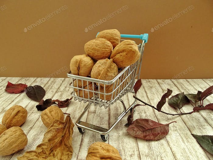 Walnuts in a shopping cart