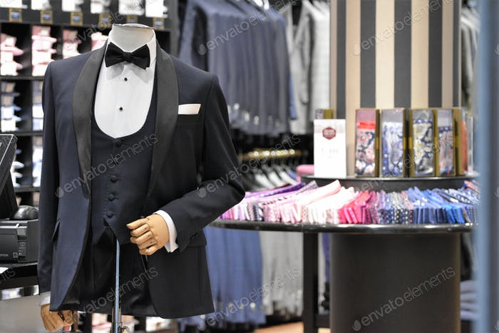 A tuxedo displayed in a retail store