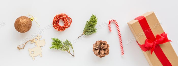 Christmas web banner with gift box and accessories. Website design during winter holiday xmas