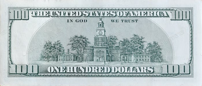 Independence Hall on 100 dollars banknote back side closeup macro fragment