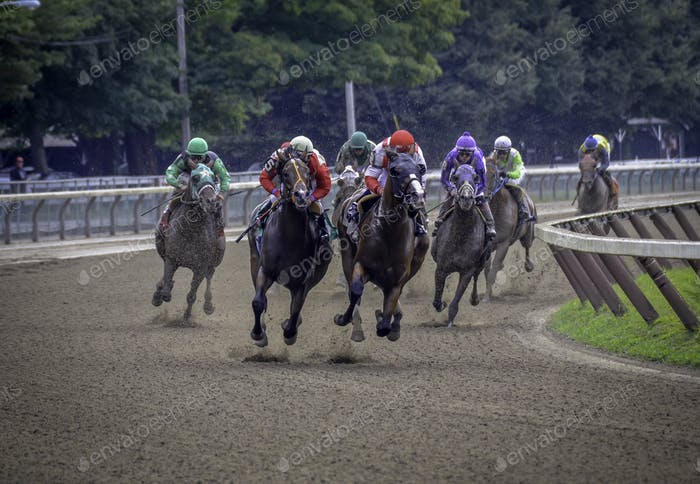 Horses racing with 8 hoofs off the ground