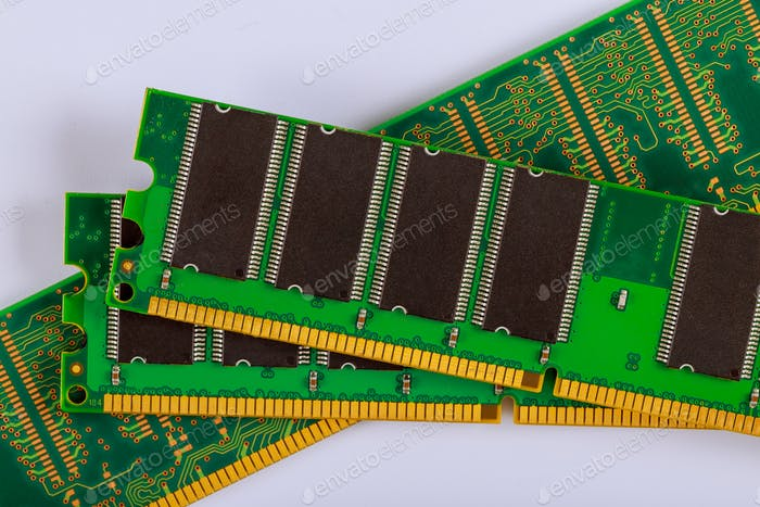 Memory RAM modules chips for computer over white background