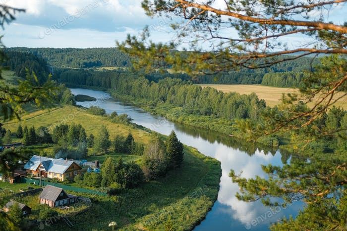 landscape, river view from above, pine trees, forests, fields, rustic view, water reflections