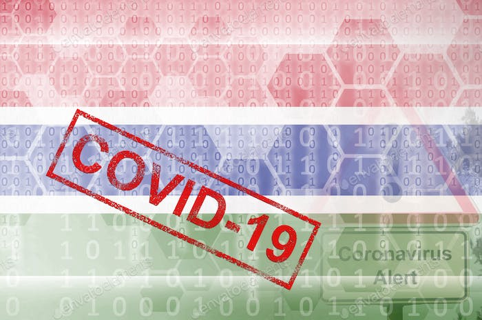 Gambia flag and futuristic digital abstract composition with Covid-19 inscription