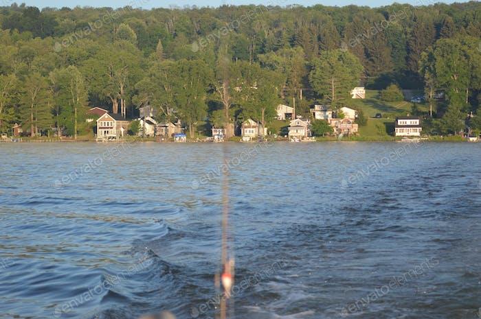 Boating at the lake.