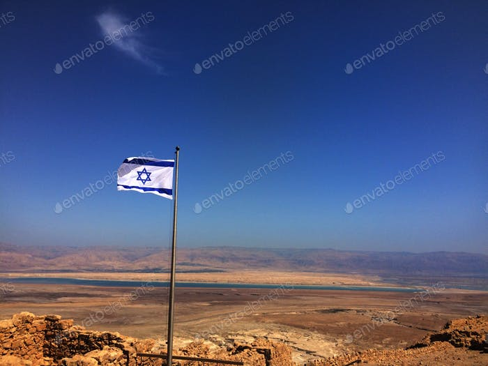 On Masada looking over the dead sea and the Jordan mountains