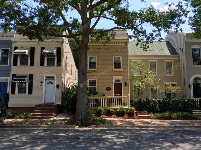 Houses and homes on Shady residential neighborhood