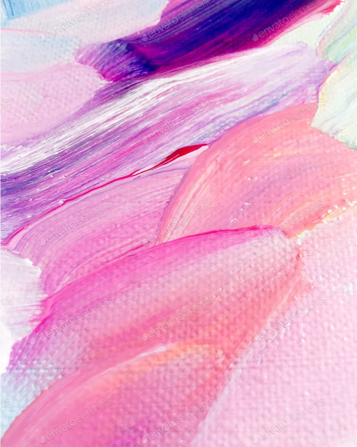 Full frame shot of overlapping layers of pink and purple acrylic paint on textured canvas.