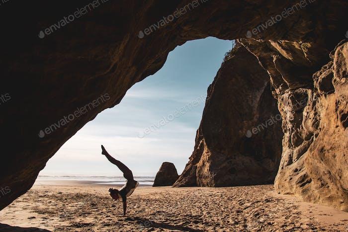 Handstand Yoga on the Beach