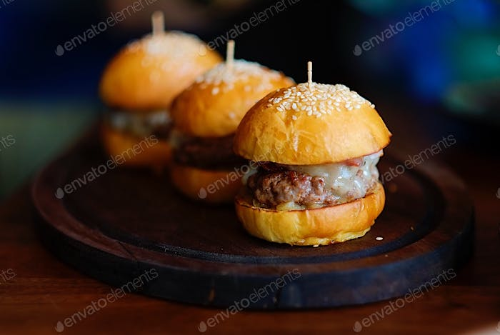 Beef and foie gras mini burgers at the Pig and Palm Cebu by chef Jason Atherton