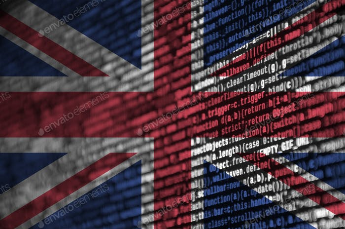 Great britain flag  is depicted on the screen with the program code