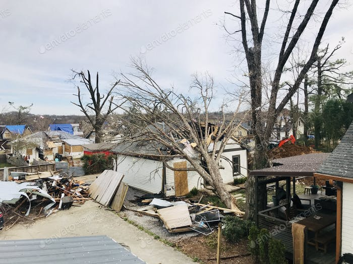 Extreme weather damage by tornado