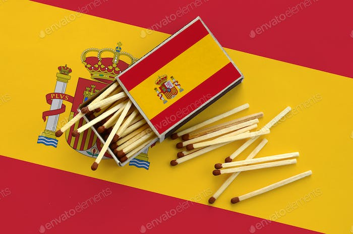 Spain flag  is shown on an open matchbox, from which several matches fall and lies on a large flag.
